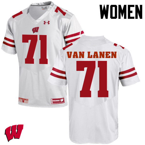 Women Wisconsin Badgers #71 Cole Van Lanen College Football Jerseys-White